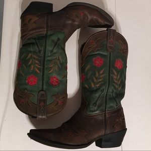 Shoes - Red 🌹 Brown & Green Cowgirl Cowboy Boots